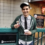 The multi-talented Jacob A. Ware shows off his #Schmovie schticker en route to #NYCC.